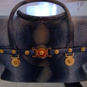 Versace Water Snake Signature Satchel Hand Bag